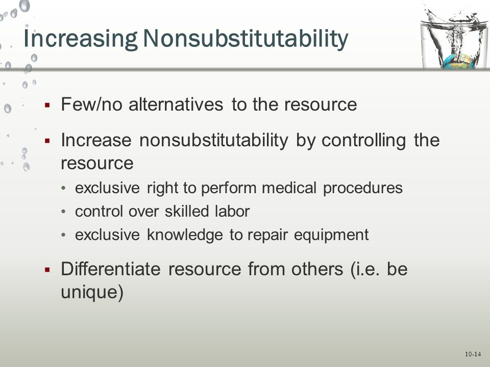 10-14 Increasing Nonsubstitutability  Few/no alternatives to the resource  Increase nonsubstitutability by controlling the resource exclusive right