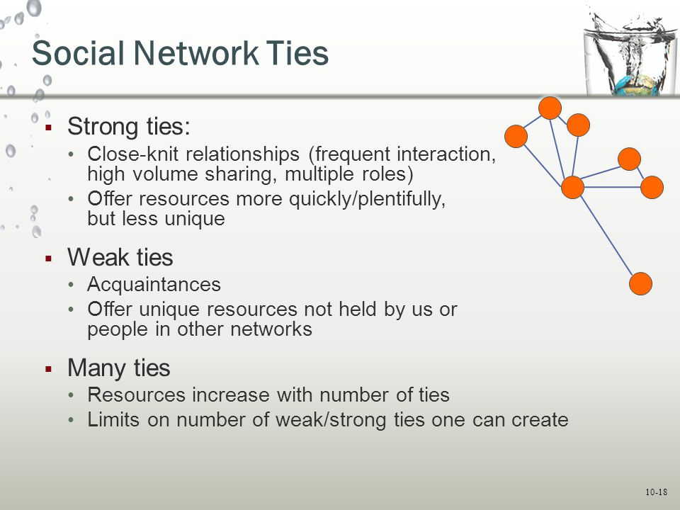 10-18 Social Network Ties  Strong ties: Close-knit relationships (frequent interaction, high volume sharing, multiple roles) Offer resources more qui