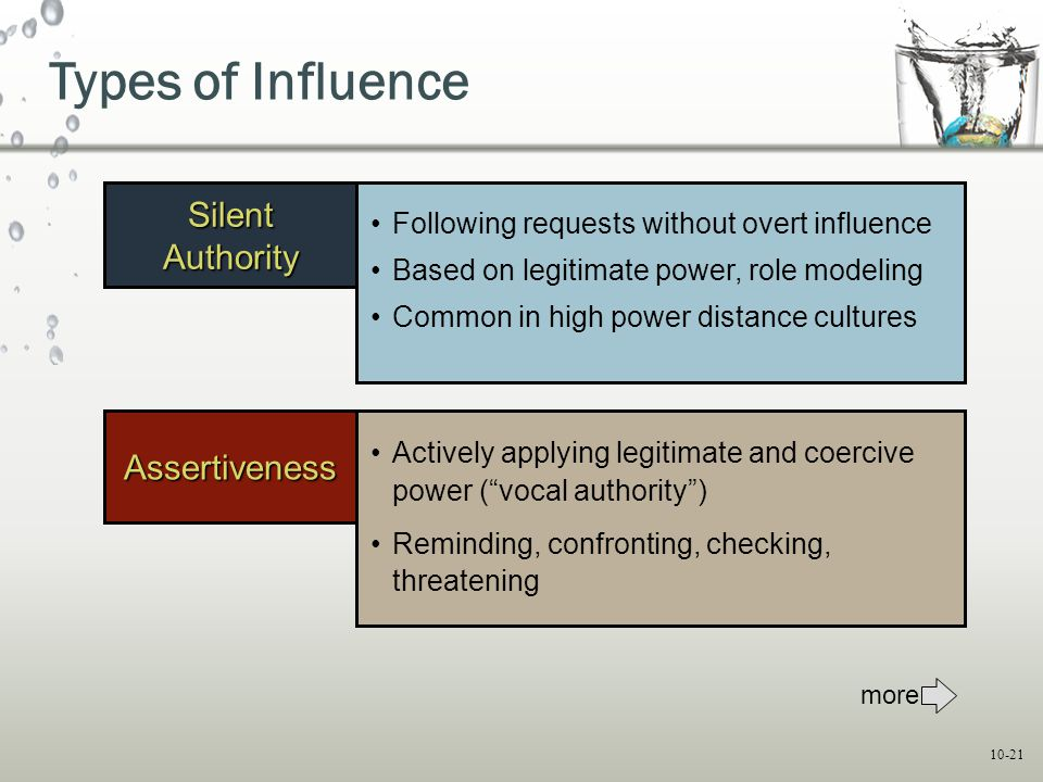 """10-21 Assertiveness Actively applying legitimate and coercive power (""""vocal authority"""") Reminding, confronting, checking, threatening Silent Authority"""