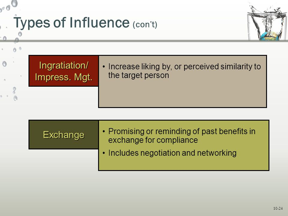 10-24 Types of Influence (con't) Exchange Promising or reminding of past benefits in exchange for compliance Includes negotiation and networking Ingra