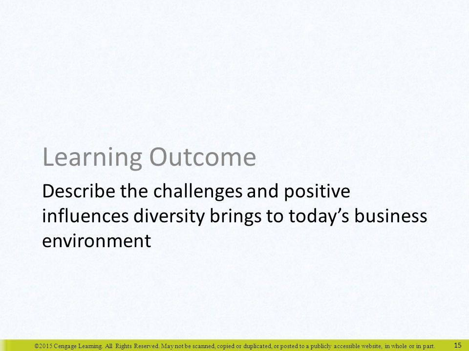 ©2015 Cengage Learning. All Rights Reserved. May not be scanned, copied or duplicated, or posted to a publicly accessible website, in whole or in part