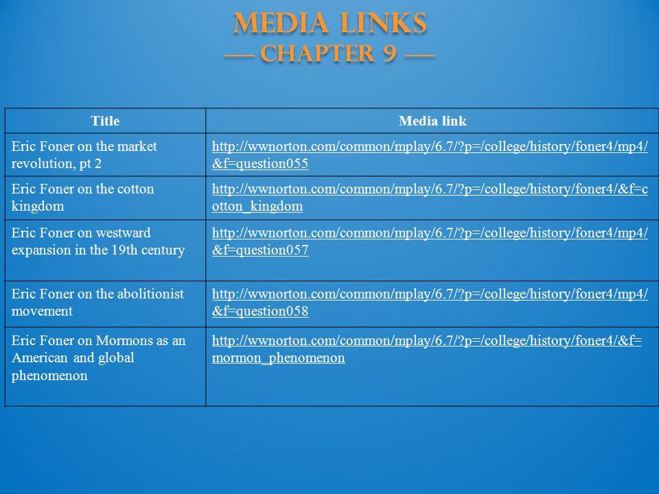 MEDIA LINKS —— Chapter 9 —— TitleMedia link Eric Foner on the market revolution, pt 2 http://wwnorton.com/common/mplay/6.7/?p=/college/history/foner4/