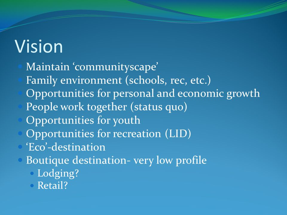 Vision Maintain 'communityscape' Family environment (schools, rec, etc.) Opportunities for personal and economic growth People work together (status quo) Opportunities for youth Opportunities for recreation (LID) 'Eco'-destination Boutique destination- very low profile Lodging.