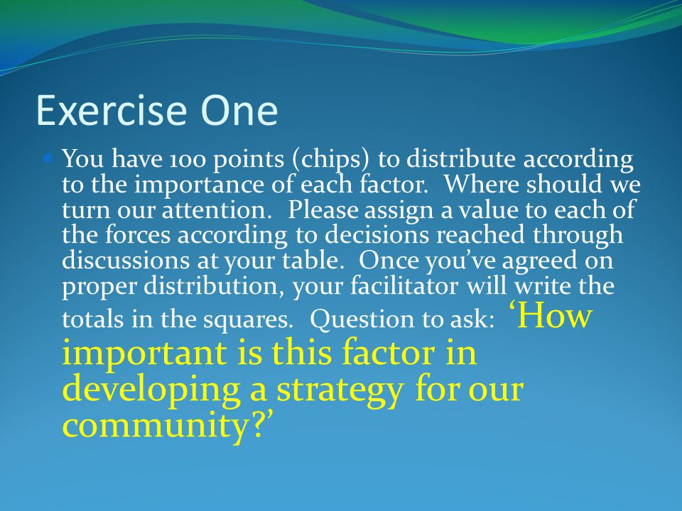 Exercise One You have 100 points (chips) to distribute according to the importance of each factor.