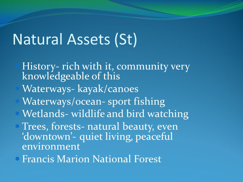 Natural Assets (St) History- rich with it, community very knowledgeable of this Waterways- kayak/canoes Waterways/ocean- sport fishing Wetlands- wildlife and bird watching Trees, forests- natural beauty, even 'downtown'- quiet living, peaceful environment Francis Marion National Forest