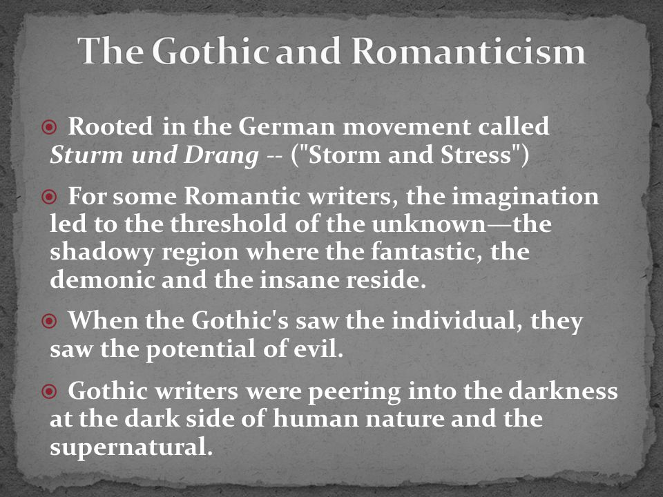 The Gothic Tradition was firmly established in Europe before American writers had made names for themselves.
