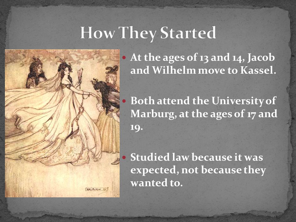At the ages of 13 and 14, Jacob and Wilhelm move to Kassel.