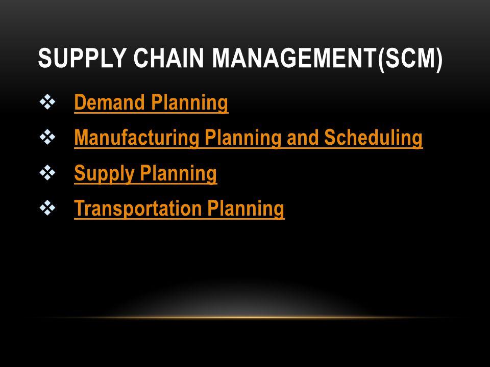 SUPPLY CHAIN MANAGEMENT(SCM)  Demand Planning Demand Planning  Manufacturing Planning and Scheduling Manufacturing Planning and Scheduling  Supply Planning Supply Planning  Transportation Planning Transportation Planning