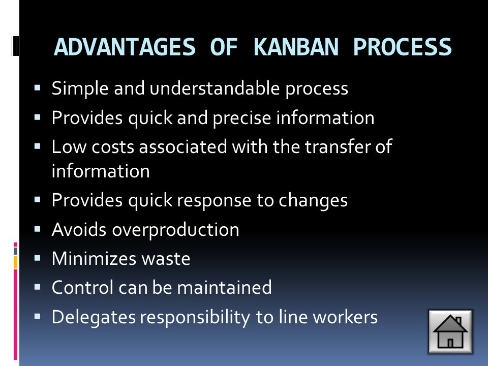 ADVANTAGES OF KANBAN PROCESS  Simple and understandable process  Provides quick and precise information  Low costs associated with the transfer of