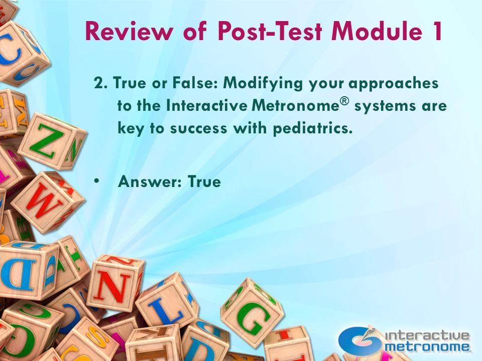 Review of Post-Test Module 1 2.
