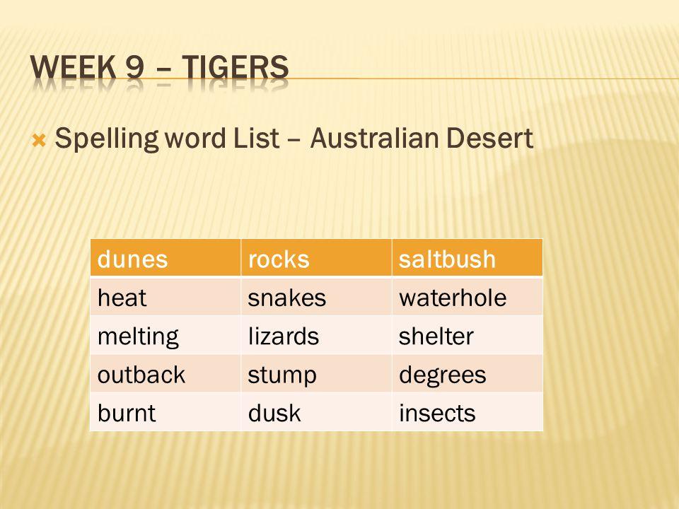  Spelling word List – Australian Desert dunesrockssaltbush heatsnakeswaterhole meltinglizardsshelter outbackstumpdegrees burntduskinsects