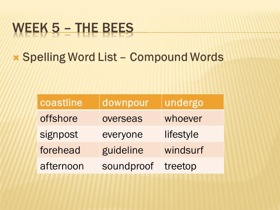  Spelling Word List – Compound Words coastlinedownpourundergo offshoreoverseaswhoever signposteveryonelifestyle foreheadguidelinewindsurf afternoonsoundprooftreetop