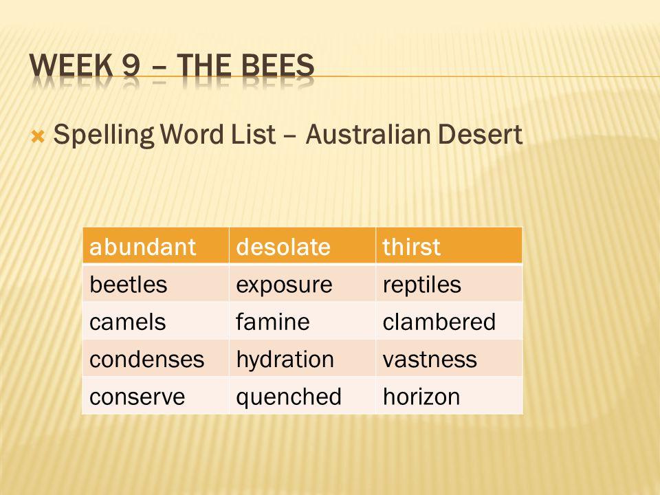  Spelling Word List – Australian Desert abundantdesolatethirst beetlesexposurereptiles camelsfamineclambered condenseshydrationvastness conservequenchedhorizon