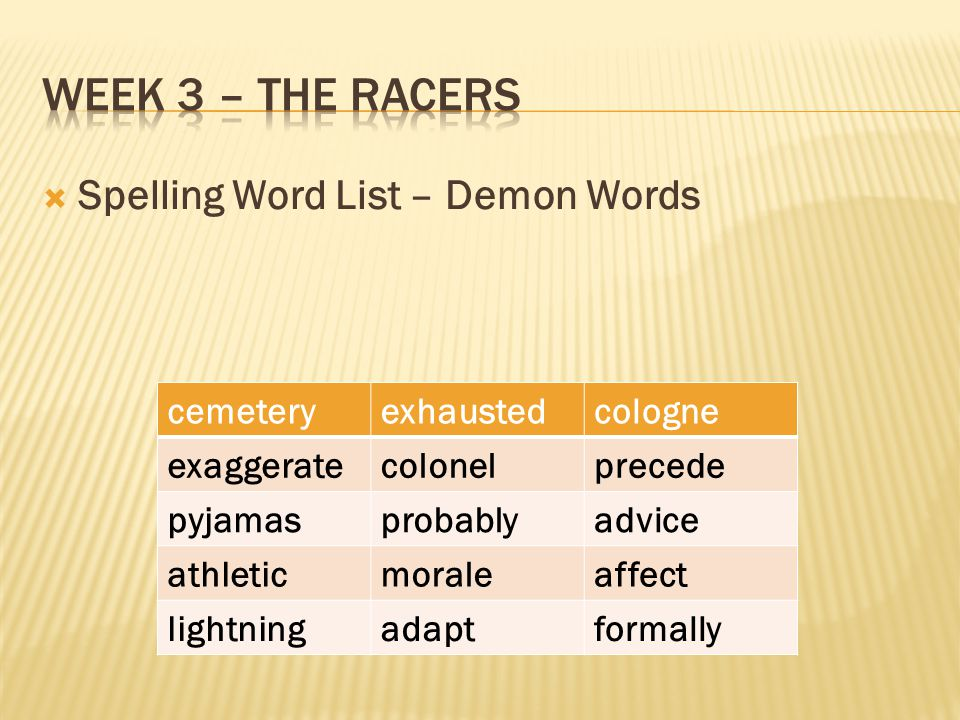  Spelling Word List – Demon Words cemeteryexhaustedcologne exaggeratecolonelprecede pyjamasprobablyadvice athleticmoraleaffect lightningadaptformally