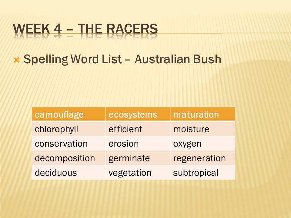  Spelling Word List – Australian Bush camouflageecosystemsmaturation chlorophyllefficientmoisture conservationerosionoxygen decompositiongerminatereg