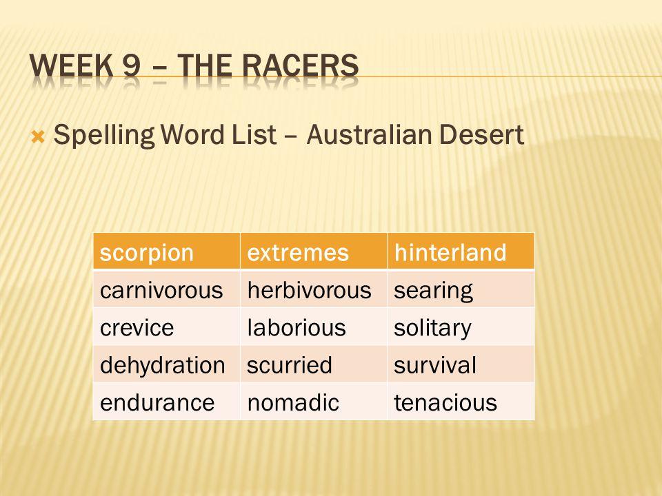  Spelling Word List – Australian Desert scorpionextremeshinterland carnivorousherbivoroussearing crevicelaborioussolitary dehydrationscurriedsurvival endurancenomadictenacious