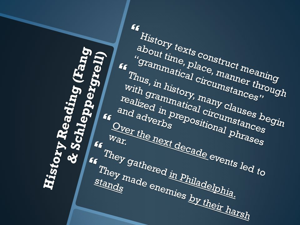 History Reading (Fang & Schleppergrell)  History texts construct meaning about time, place, manner through grammatical circumstances  Thus, in history, many clauses begin with grammatical circumstances realized in prepositional phrases and adverbs  Over the next decade events led to war.