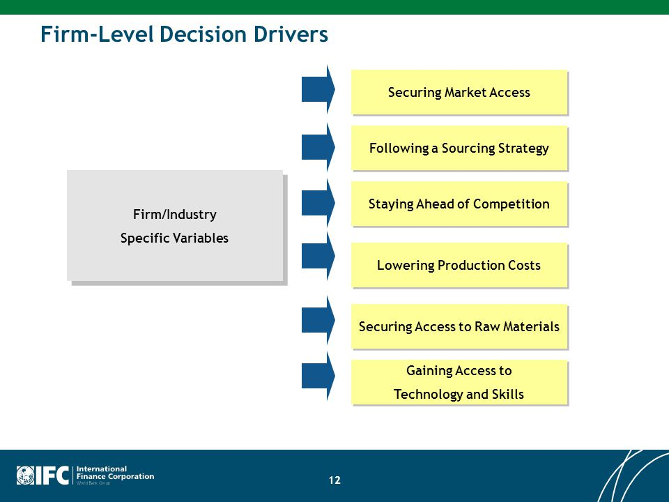Firm/Industry Specific Variables Firm/Industry Specific Variables Gaining Access to Technology and Skills Gaining Access to Technology and Skills Securing Access to Raw Materials Lowering Production Costs Staying Ahead of Competition Following a Sourcing Strategy Securing Market Access Firm-Level Decision Drivers 12