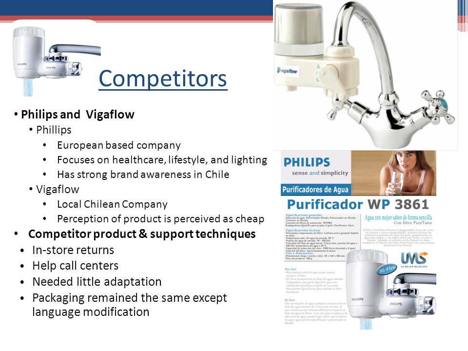 Competitors Philips and Vigaflow Phillips European based company Focuses on healthcare, lifestyle, and lighting Has strong brand awareness in Chile Vigaflow Local Chilean Company Perception of product is perceived as cheap Competitor product & support techniques In-store returns Help call centers Needed little adaptation Packaging remained the same except language modification