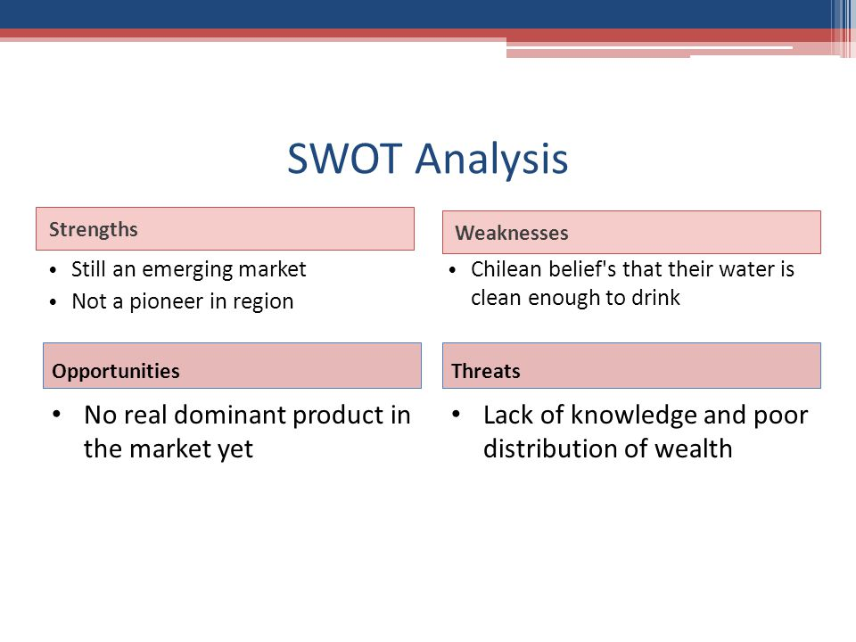 SWOT Analysis Strengths Weaknesses Still an emerging market Not a pioneer in region Chilean belief s that their water is clean enough to drink Opportunities No real dominant product in the market yet Threats Lack of knowledge and poor distribution of wealth