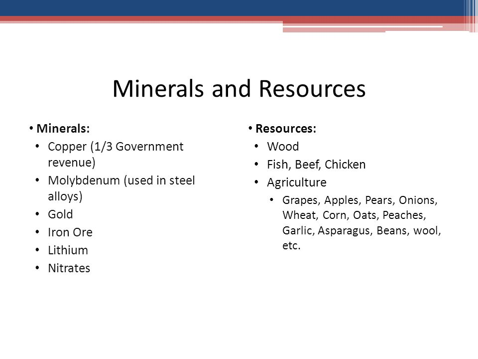 Minerals and Resources Minerals: Copper (1/3 Government revenue) Molybdenum (used in steel alloys) Gold Iron Ore Lithium Nitrates Resources: Wood Fish, Beef, Chicken Agriculture Grapes, Apples, Pears, Onions, Wheat, Corn, Oats, Peaches, Garlic, Asparagus, Beans, wool, etc.