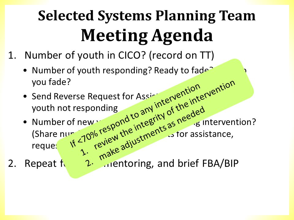 Selected Systems Planning Team Meeting Agenda 1.Number of youth in CICO? (record on TT) Number of youth responding? Ready to fade? How do you fade? Se