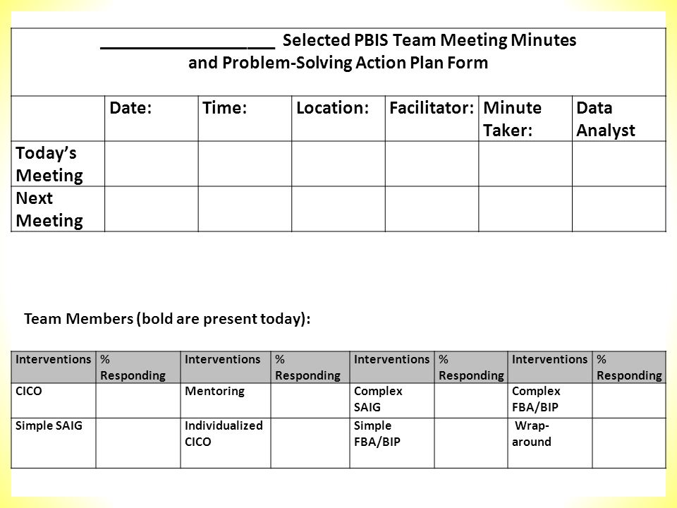 ___________________ Selected PBIS Team Meeting Minutes and Problem-Solving Action Plan Form Date:Time:Location:Facilitator:Minute Taker: Data Analyst