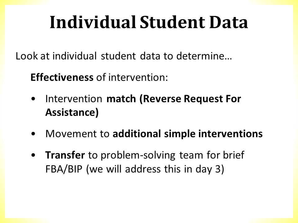 Individual Student Data Look at individual student data to determine… Effectiveness of intervention: Intervention match (Reverse Request For Assistanc