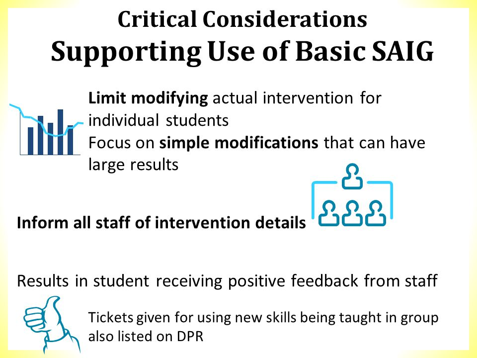 Limit modifying actual intervention for individual students Focus on simple modifications that can have large results Inform all staff of intervention