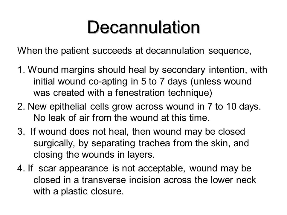 Decannulation 1. Wound margins should heal by secondary intention, with initial wound co-apting in 5 to 7 days (unless wound was created with a fenest