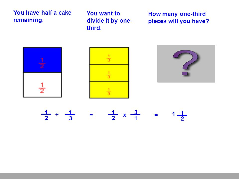 1 1 You have half a cake remaining.You want to divide it by one- third.