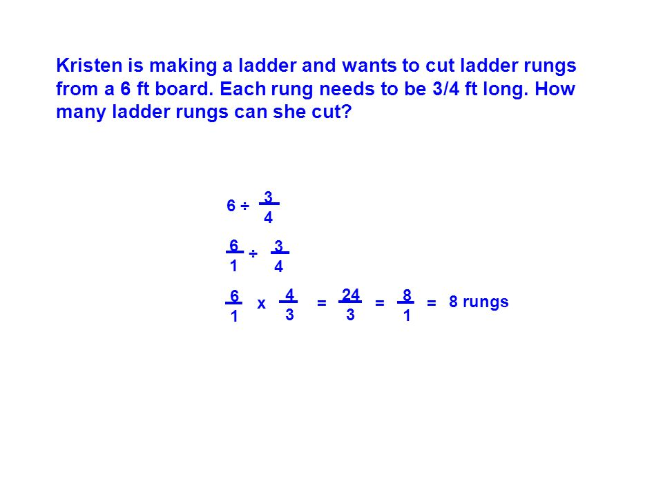 Kristen is making a ladder and wants to cut ladder rungs from a 6 ft board.