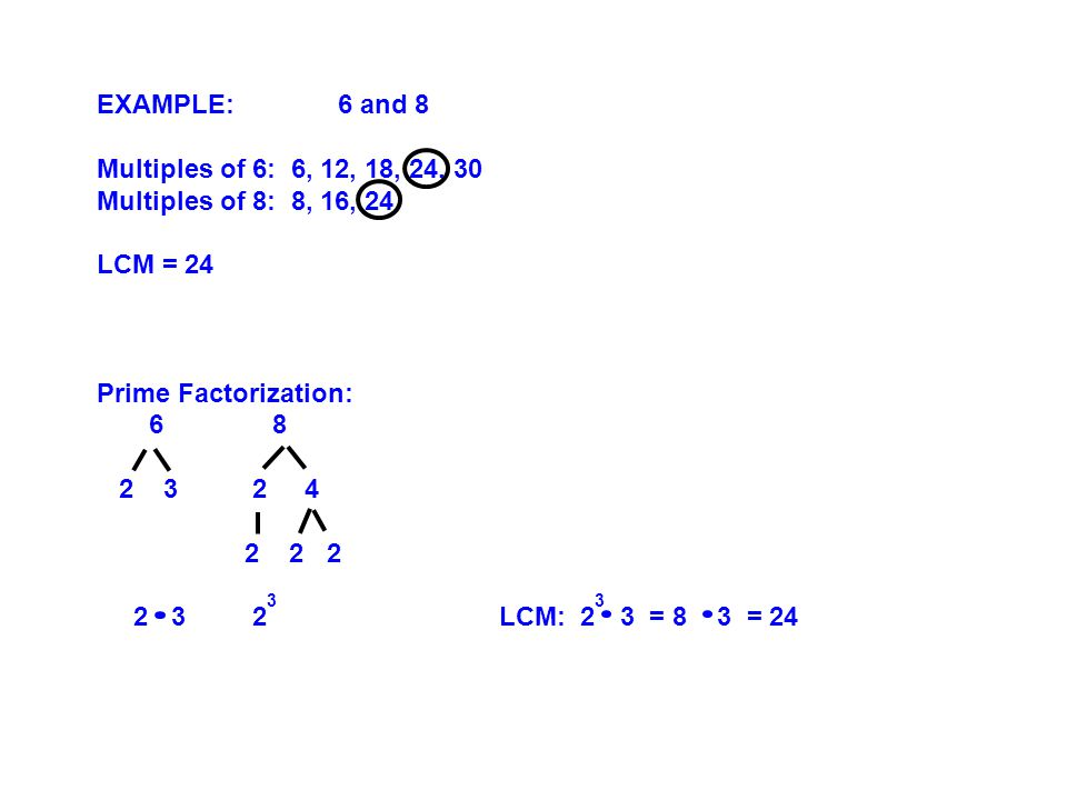 EXAMPLE:6 and 8 Multiples of 6: 6, 12, 18, 24, 30 Multiples of 8: 8, 16, 24 LCM = 24 Prime Factorization: 6 8 2 3 2 4 2 2 2 2 3 2 3 LCM: 2 3 3 = 8 3 = 24
