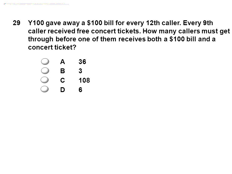 29Y100 gave away a $100 bill for every 12th caller.