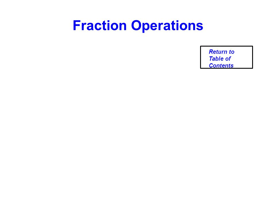 Fraction Operations Return to Table of Contents