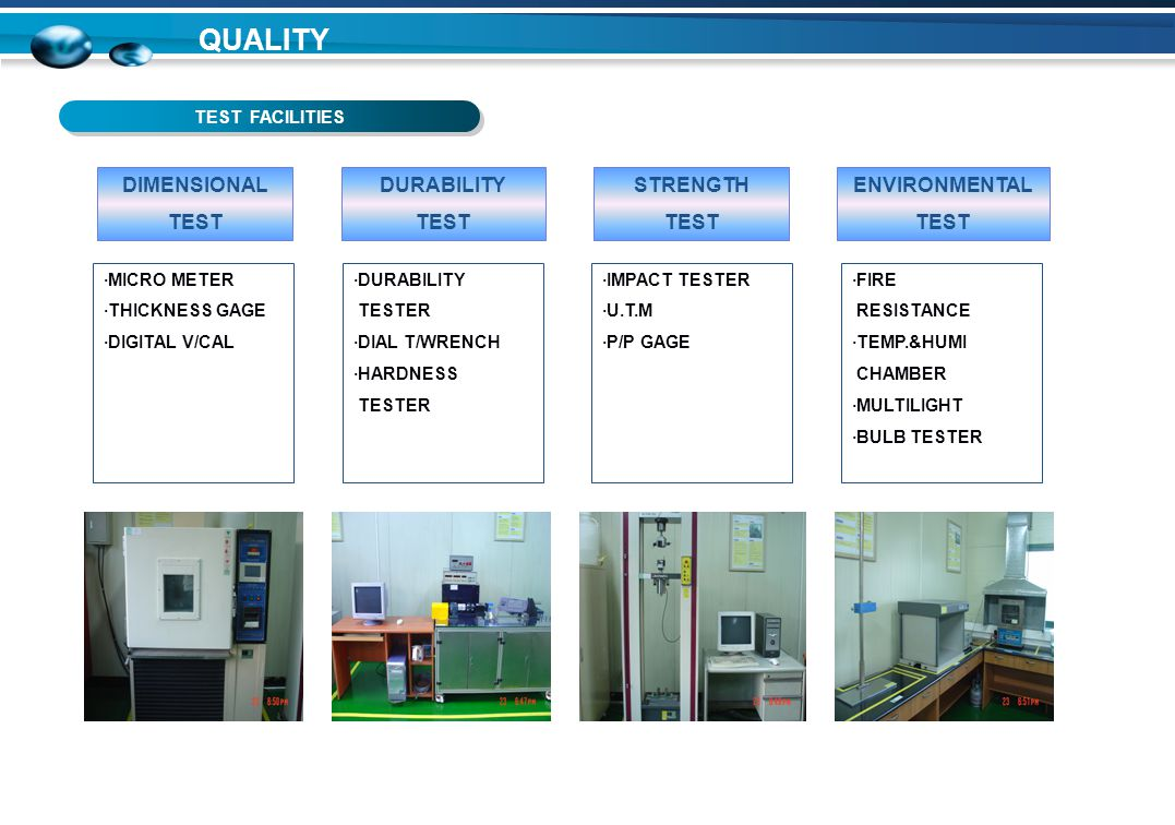 TEST FACILITIES QUALITY DIMENSIONAL TEST DURABILITY TEST STRENGTH TEST ENVIRONMENTAL TEST ·MICRO METER ·THICKNESS GAGE ·DIGITAL V/CAL ·FIRE RESISTANCE