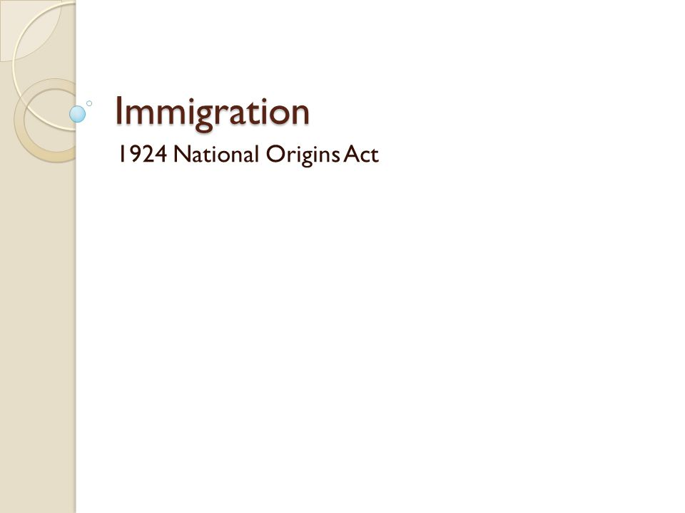 Immigration 1924 National Origins Act