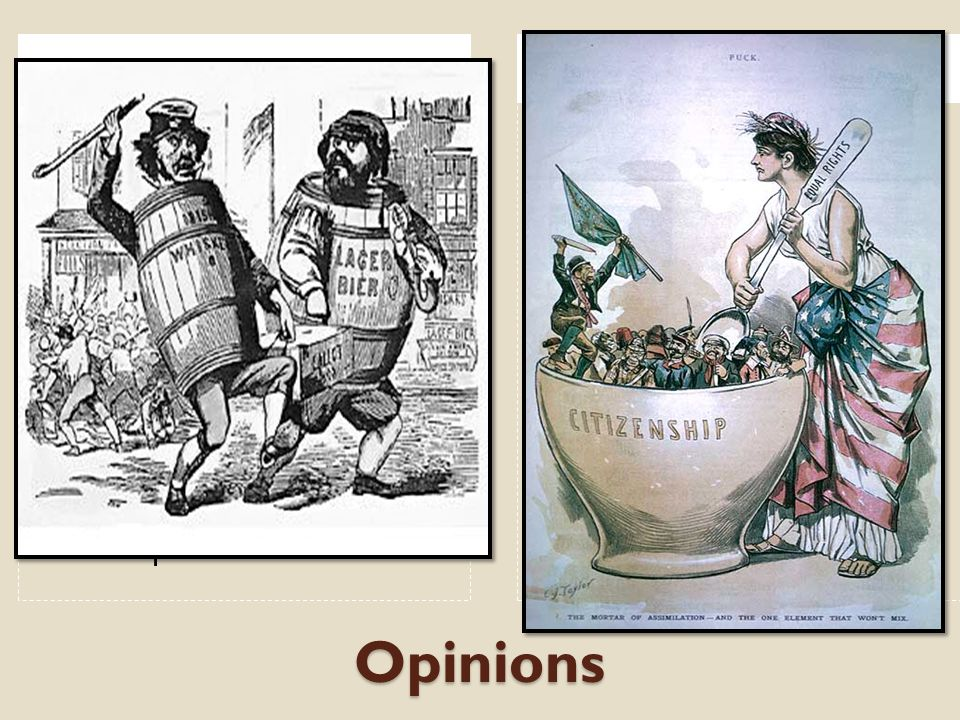 Opinions Anti - ImmigrationPro - Immigration 1. New immigrants won't assimilate 2. They are drunks, unwashed, uncultured 3. They bring poverty, diseas