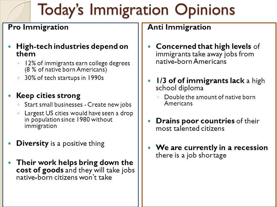 Today's Immigration Opinions Pro Immigration High-tech industries depend on them ◦ 12% of immigrants earn college degrees (8 % of native born American