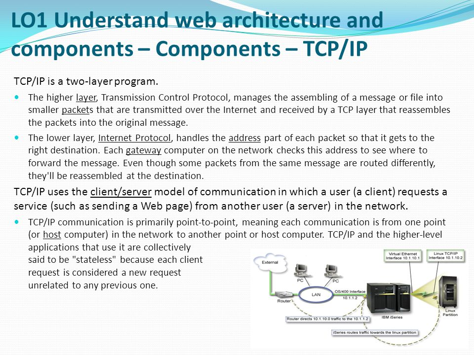 TCP/IP is a two-layer program.