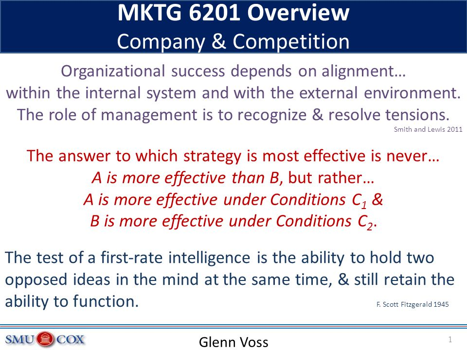 MKTG 6201 Overview Company & Competition Glenn Voss Organizational success depends on alignment… within the internal system and with the external envi