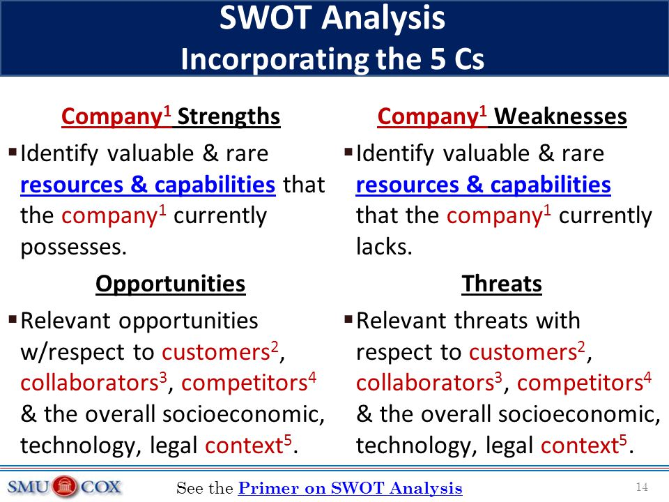 SWOT Analysis Incorporating the 5 Cs Company 1 Strengths  Identify valuable & rare resources & capabilities that the company 1 currently possesses. r