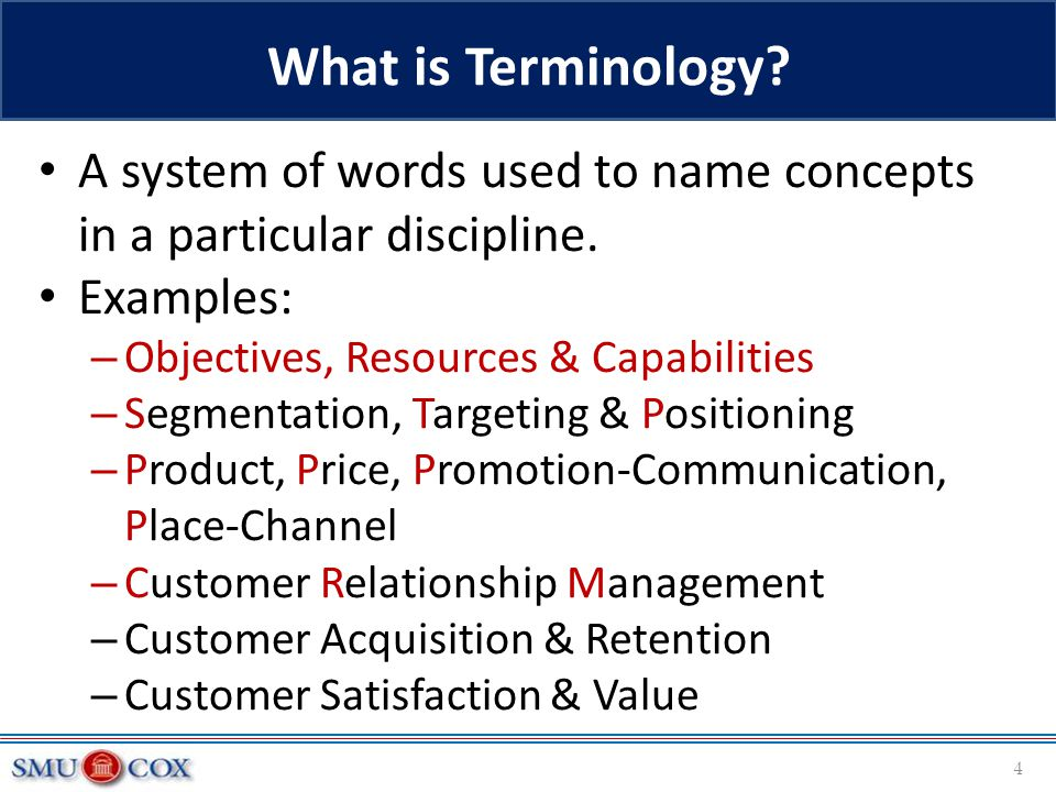 A system of words used to name concepts in a particular discipline. Examples: – Objectives, Resources & Capabilities – Segmentation, Targeting & Posit