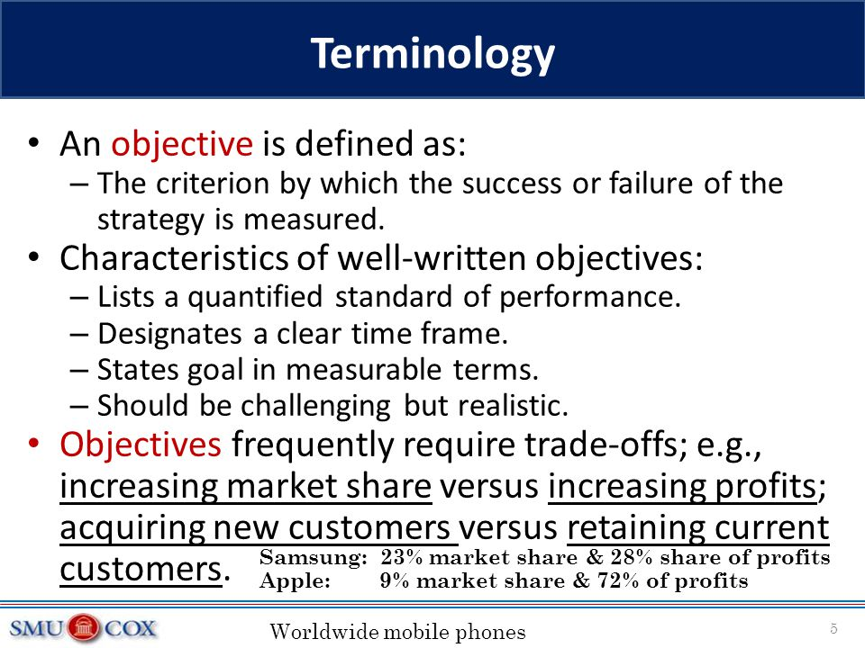 Terminology An objective is defined as: – The criterion by which the success or failure of the strategy is measured. Characteristics of well-written o