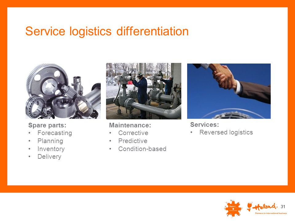 Service logistics differentiation 31 Spare parts: Forecasting Planning Inventory Delivery Maintenance: Corrective Predictive Condition-based Services: