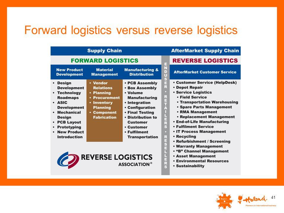 Forward logistics versus reverse logistics 41