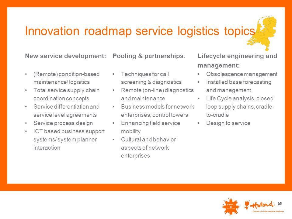 Innovation roadmap service logistics topics New service development: (Remote) condition-based maintenance/ logistics Total service supply chain coordi