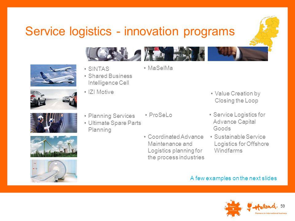 Service logistics - innovation programs 59 IZI Motive MaSelMa Value Creation by Closing the Loop Coordinated Advance Maintenance and Logistics plannin