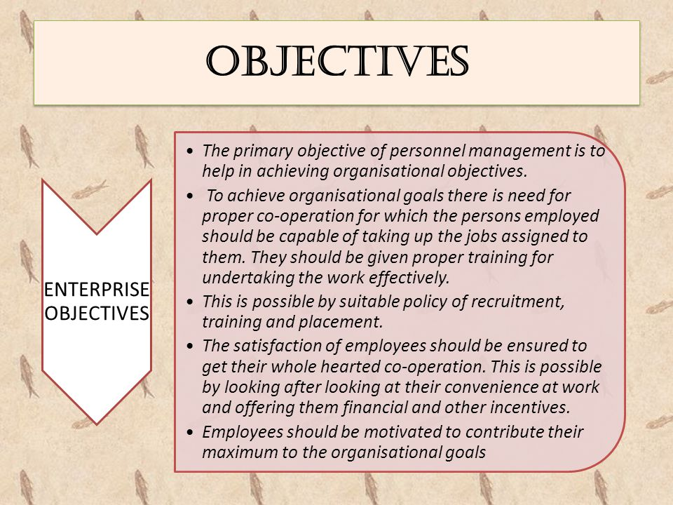 OBJECTIVES ENTERPRISE OBJECTIVES The primary objective of personnel management is to help in achieving organisational objectives. To achieve organisat