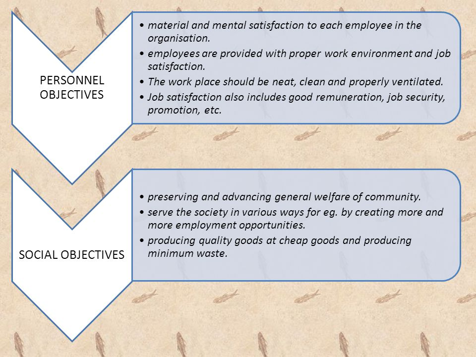 PERSONNEL OBJECTIVES material and mental satisfaction to each employee in the organisation. employees are provided with proper work environment and jo